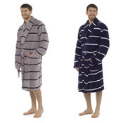 Mens Striped Supersoft Dressing Gown Robe