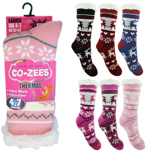 Ladies Reindeer Thermal Bootie Socks