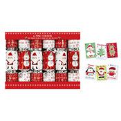 Christmas 6 Pack Mini Crackers Santa & Snowman