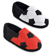 Childrens Soft Fleece Slippers Football Red/White
