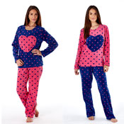 Ladies Micro Fleece Pyjama Stella Heart Print