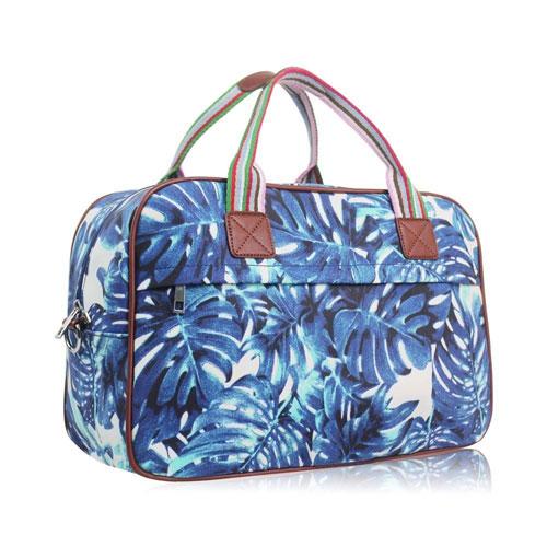 Hawaiian Leaf Design Weekend Bag Blue