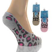 Ladies Fresh Feel Invisible Socks Assorted Animal Print