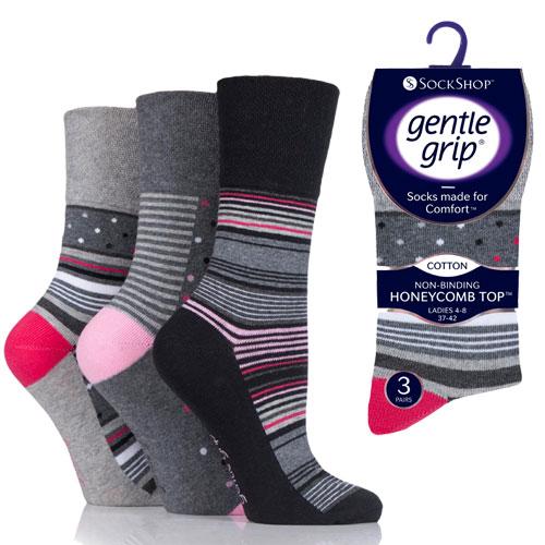 Ladies Gentle Grip Socks Dots/Stripes
