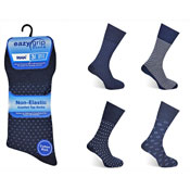 Mens Eazy Grip Non Elastic Socks Navy Assorted