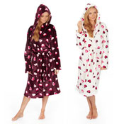 Ladies Cosy Dressing Gowns with Heart Prints