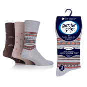 Mens Gentle Grip Socks Aztec Pattern