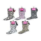 Sherpa Boot Slipper Socks Animal Print