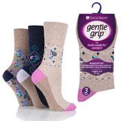 Ladies Gentle Grip Socks Sienna Folk Floral Natural