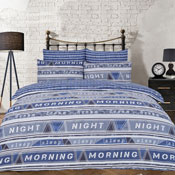 Geo Text Blue Reversible Duvet Set