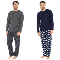 Mens Long Sleeve Top And Flannel Bottom Pyjamas