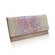 Abri Metallic Faux Snake Skin Flap Purse Pink