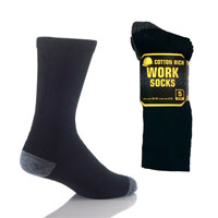 Mens Safety Work Socks Black with Coloured Heel
