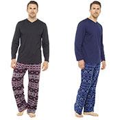 Mens Fairisle Print Fleece Pants & Jersey Top