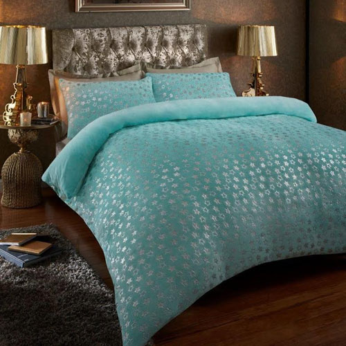 Super Soft Metallic Star Duvet Set Aqua/Silver