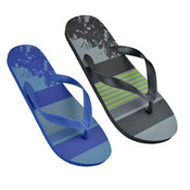 Mens Assorted Stripe Print Flip Flop Blue/Black