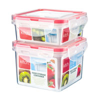 2 Pack Square Click And Close Containers