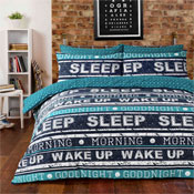 Retro Text Teal Duvet Set
