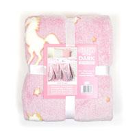 Unicorn Print Glow In The Dark Blanket Throw