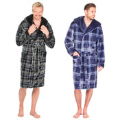 Mens Soft Fleece Hooded Gown Checked Black/Navy