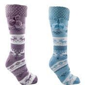 Ladies Fairisle Fleece Lining Sock