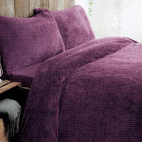 Super Soft Teddy Fleece Duvet Set Aubergine