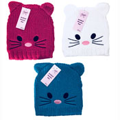 Childrens Knitted Beanie Hat Cat with Ears
