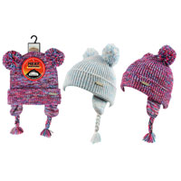 Girls Heat Machine Twin Pom Pom Hats with Tassles