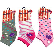 Ladies Sport Trainer Socks Heart/Stripes