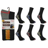 Mens Work Socks Coloured Heel and Toe 5 Pack