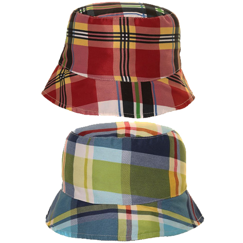 Toddler Boys Checkered Cotton Button Hat