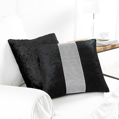2 Black Diamante Cushion Covers
