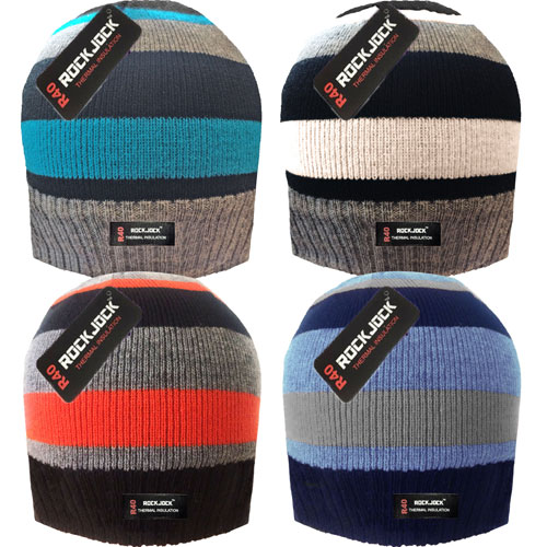 Boys Striped Hat with Thermal Lining
