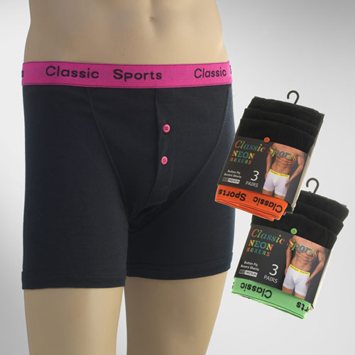 Mens Classic Sport Neon Button Fly Boxer