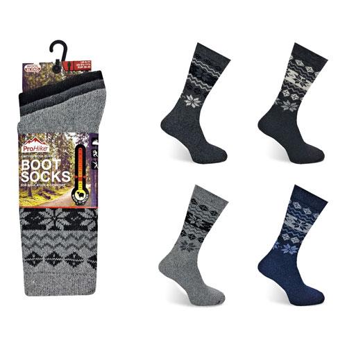 Mens ProHike Fairisle Wool Blend Boot Socks