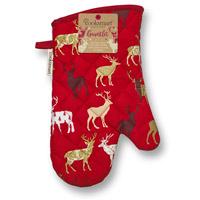 Christmas Reindeer Gauntlet Single Oven Glove
