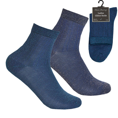 Ladies 1 Pair Glitter Socks Navy