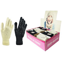 Ladies Magic Gloves with Jewell in Display Box