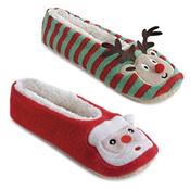 Ladies Rudolf and Santa Ballet Slippers