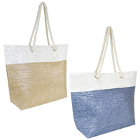Paper Straw Bag With Metallic Thread Panel