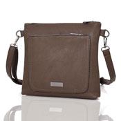 Ladies Valentina Front Zip Pocket Crossbody Bag Dark Khaki