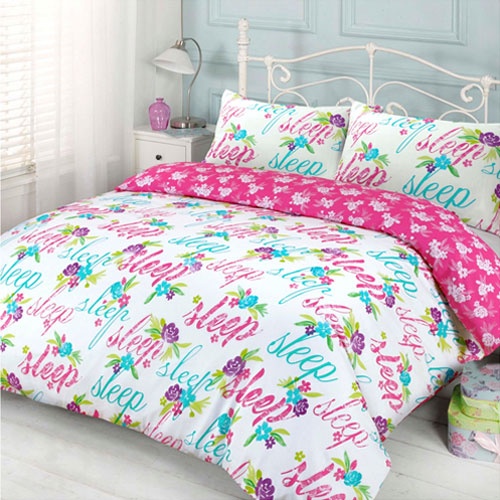 Decorative Text Pink Duvet Set