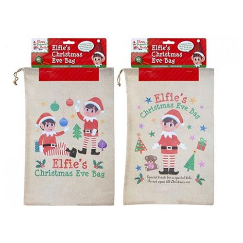 Small Elf Non Woven Draw String Christmas Eve Bag