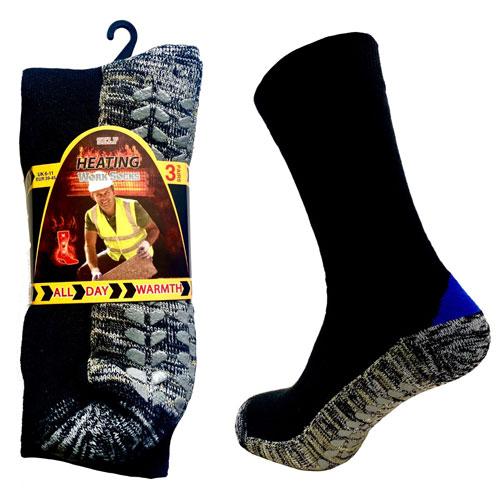 Mens Self Heating Work Socks with Gripper Sole