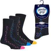 Mens Gentle Grip Socks Techno Brick Black