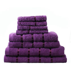 8 Piece Towel Bale Aubergine Egyptian Cotton