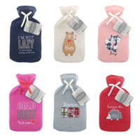 Hot Water Bottle With Assorted Fleece Applique Cover