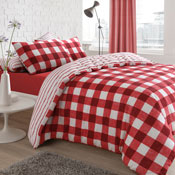 Gingham Check Red Reversible Duvet Set