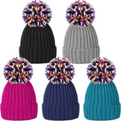 Ladies Rib Knit Bobble Hat With Multi Colour Yarn Pom Pom
