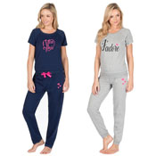 Ladies Mon Amie Short Sleeve Jogger Lounge Pyjama Set